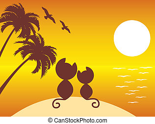 two cats in love under palms - vector illustration of two ...