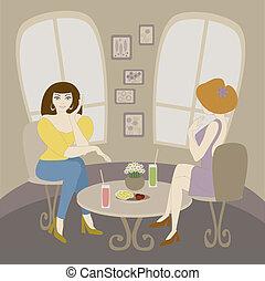 two caucasian woman talking in cafe
