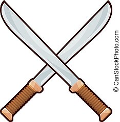 Vector illustration of two crossed machetes cardboard on a white background. Logo. Stock
