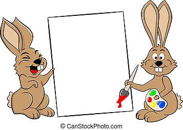 two easter bunnies with a sign