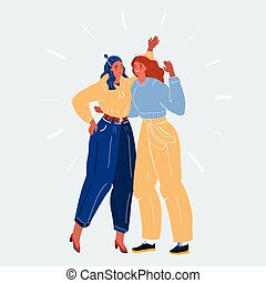 Vector illustration of Two friends. Woman teamwork concept symbol on white backround.