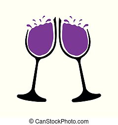Vector illustration of two glasses of red wine