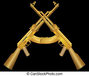 two gold ak - Vector illustration of two gold ak on black