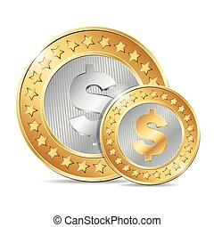 vector illustration of two gold and silver coins