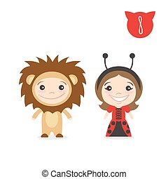 Vector illustration of two happy cute kids characters. Boy in lion costume and a girl in ladybug costume.