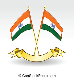 Vector illustration of two Indians Flag on isolted bakground.