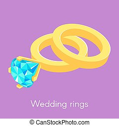 Vector illustration of two isometric wedding rings.
