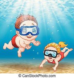 Two kids diving underwater