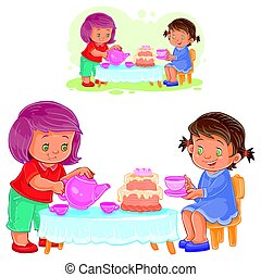 Vector illustration of two little girls are drinking tea with a cake