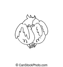 Vector illustration of two lovers pigs angels with wings cuddling. Black and white cartoon pigs
