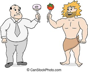 paleo diet and fast food - vector illustration of two men...