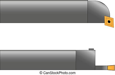 vector illustration of two metal cutters in gray with yellow cutting plates on a white background