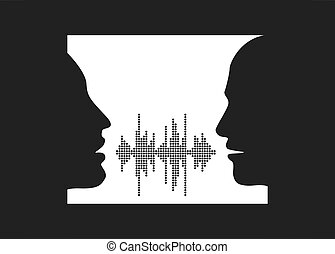 Vector illustration of two people talk face to face.