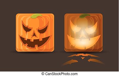 Vector illustration of two pumpkin icons