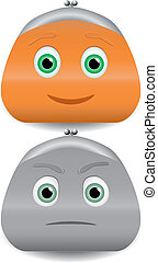 Vector illustration of two purses characters with faces.