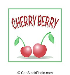 Vector illustration of two red cherries in the square frame with text. Pair of berries are isolated on the white background.