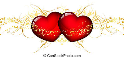 Vector illustration of two red hear