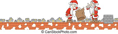 two santa claus with empty bag on a rooftop