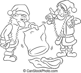 santa claus with empty bags - vector illustration of two...