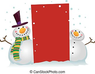 Two Snowman with a Blank Board