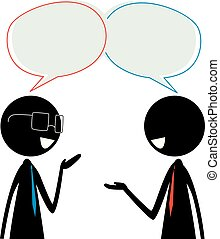 Two Stick Figure Silhouette Business Man Talking with Speech Bubble on their Head