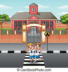 Two students crossing the road