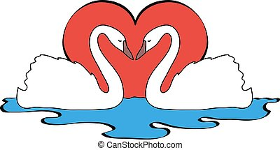 vector illustration of two swans in love