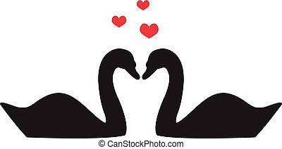 Vector illustration of two swans silhouettes in love.