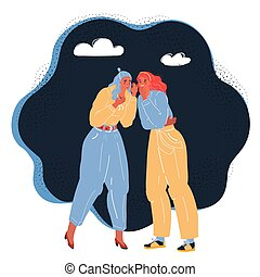 Vector illustration of Two Women Talking gossips To Each Other
