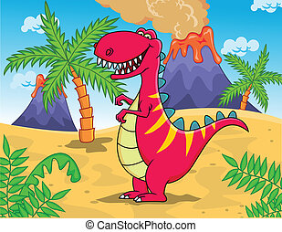 Tyrannosaurus cartoon - Vector illustration of Tyrannosaurus...