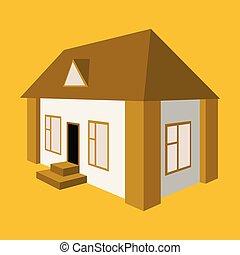 vector illustration of Ukrainian hut image. The symbol of the Ukraine village. Eco-friendly housing, wattle and daub