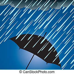 umbrella protection from heavy rain - vector illustration of...