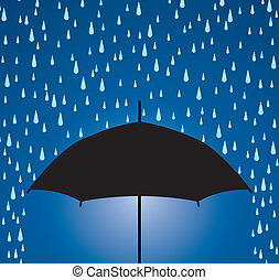 umbrella protection from rain drops - vector illustration of...