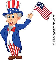 Vector illustration of Uncle Sam cartoon holding American flag