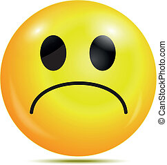 Unhappy glossy smiley icon - Vector illustration of Unhappy...
