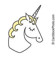 Vector illustration of unicorn. Logo. Cartoon flat style