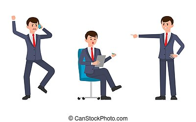 Vector illustration of upset businessmen