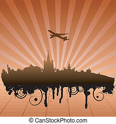 Vector illustration of urban landscape of Moscow