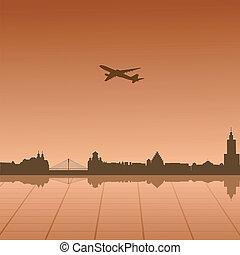 Vector illustration of urban landscape of Warsaw
