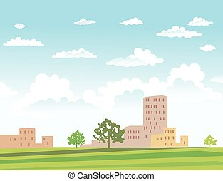 Vector illustration of urban landscape.