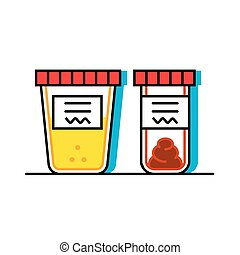 Vector illustration of urine and fecal analysis. Flat style...