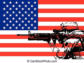 Vector illustration of US marine