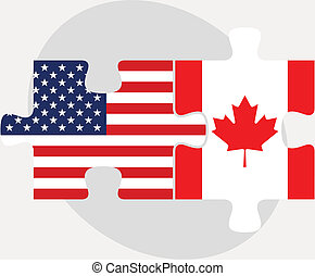 USA and Canada Flags in puzzle