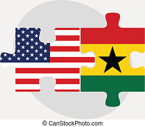 USA and Ghanaian Flags in puzzle isolated on white background