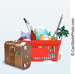 Vector illustration of vacation shopping cart