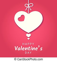 Vector illustration of Valentine Day or love banner with decoration in form of heart hanging on ribbon with bow.