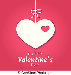 Vector illustration of Valentine Day or love banner with decoration in form of heart hanging on ribbon.