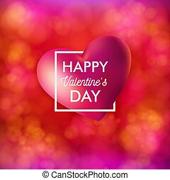 Vector illustration of Valentines day card on bright, festive, blurred red background.