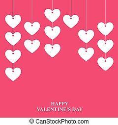 Valentines day card with hanging garlands of hearts