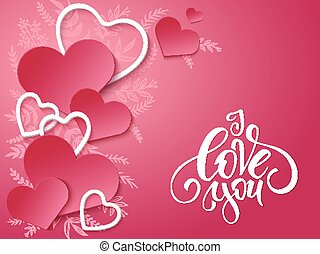vector illustration of valentines day card with lettering -I love you, doodle branches and a lot of hearts